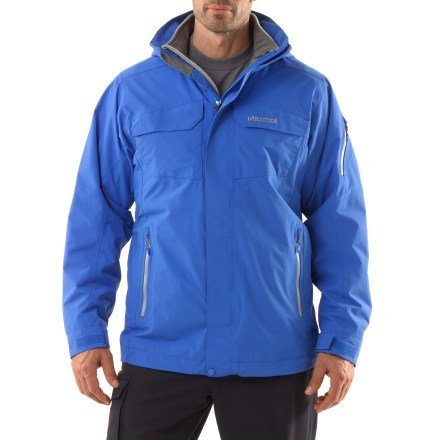 Ski The Marmot Sidehill Component 3-in-1 jacket offers layering options for versatility in the snow. Wherever your priorities lie, this waterproof shell and fleece liner jacket combo will do the trick. 2-layer Marmot MemBrain(R) waterproof and breathable nylon shell increases comfort by reducing chill effect of condensation build-up; 100% seam-taped. Storm hood with laminated brim protects you in poor conditions but zips off to reduce bulkiness. Roomy Angel-Wing Movement(TM) fit accommodates layering so you can stay comfortable at both the top and bottom of the mountain. Plenty of storage including zippered chest pockets; handwarmer pockets and sleeve pocket have water-resistant zippers. Interior pockets include a zippered sunglass pocket and mesh goggles pocket. Polyester-lined collar and chin guard are moisture wicking and soft against your skin. PitZips(TM) extend along the body of the Marmot Mantra shell jacket, offering excellent ventilation control. Rip-and-stick cuffs and powder skirt help seal warmth in when riding deep powder. Removable 200-weight fleece liner jacket wicks moisture from the inside out and adds insulating warmth, or can be worn alone. Fleece jacket has zippered handwarmer pockets so you can stow a few small essentials securely. - $226.93