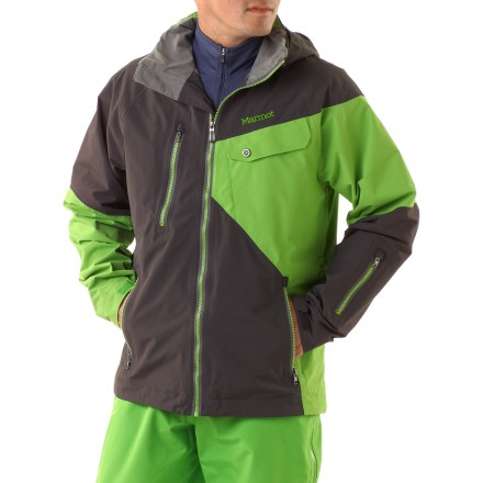 Ski The Marmot Mantra shell jacket makes exploring the mountain a snap with a sleek, lightweight design and ample pockets to keep necessities close at hand. 2-layer Marmot MemBrain(R) waterproof and breathable nylon shell increases comfort by reducing chill effect of condensation build-up; 100% seam-taped. Storm hood with laminated brim protects you in poor conditions, but zips off to reduce bulkiness. Roomy Angel-Wing Movement(TM) fit accommodates layering so you can stay comfortable at both the top and bottom of the mountain. Plenty of storage including chest pockets (zippered and flapped), handwarmers, media pocket, interior mesh pockets and waist pass pocket with water-resistant zipper. Polyester-lined collar and chin guard are moisture wicking and soft against your skin. PitZips(TM) extend along the body of the Marmot Mantra shell jacket, offering excellent ventilation control. Rip-and-stick cuffs and zip-off powder skirt help seal warmth in when riding deep powder. - $198.93