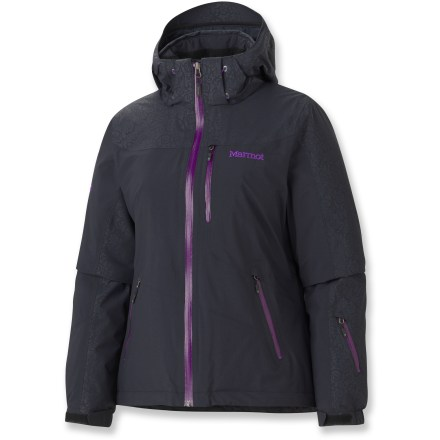 Ski The Marmot Arcs women's insulated jacket is ideal for the weekday warrior as well as a week-long trip to the resort. This waterproof, breathable jacket keeps you protected from the elements. 2-layer Marmot MemBrain(R) waterproof and breathable nylon shell increases comfort by reducing chill effect of condensation build-up; 100% seam-taped. Thermal R(TM) recycled synthetic insulation has excellent loft with minimal weight. Non-bulky Thermal R maximizes warmth while reducing the adverse effects of perspiration, condensation and humidity inside the garment. Zip-off storm hood with laminated brim protects you in poor conditions. Roomy Angel-Wing Movement(TM) fit accommodates layering so you can stay comfortable at both the top and bottom of the mountain. Plenty of storage including chest pockets, handwarmer pockets and a sleeve pocket; all zippers are water resistant. Interior pockets include a zippered sunglass pocket, electronics pocket and mesh goggles pocket. Polyester-lined collar and chin guard are moisture wicking and soft against your skin. PitZips(TM) extend along the body of the Marmot Arcs jacket, offering excellent ventilation control. Rip-and-stick cuffs and zip-off powder skirt help seal warmth in when riding deep powder. - $300.00
