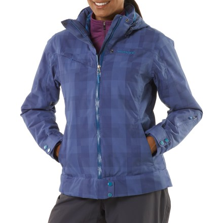 Ski Cold, wet climes are no match for the women's Marmot Sion Insulated jacket. It protects you with exceptional warmth and a tough, stylish exterior. 2-layer Marmot MemBrain(R) waterproof and breathable nylon shell increases comfort by reducing chill effect of condensation build-up; 100% seam-taped. Thermal R(TM) recycled synthetic insulation has excellent loft with minimal weight. Non-bulky Thermal R maximizes warmth while reducing the adverse effects of perspiration, condensation and humidity inside the garment. Storm hood with laminated brim protects you in poor conditions but zips off to reduce bulkiness. Roomy Angel-Wing Movement(TM) fit accommodates layering so you can stay comfortable at both the top and bottom of the mountain. Plenty of storage including chest pocket, handwarmer pockets and sleeve pocket; all zippers are water resistant. Polyester-lined collar and chin guard are moisture wicking and soft against your skin. PitZips(TM) extend along the body of the Marmot Sion jacket, offering excellent ventilation control. Rip-and-stick cuffs and powder skirt help seal warmth in when riding deep powder. Interior pockets include a zippered sunglass pocket, electronics pocket and goggles pocket. - $191.93