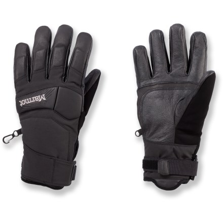 Ski When you're catching air in the terrain park or floating through powder in the backcountry, the Marmot Aerial Undercuff gloves will keep your hands warm and let you maintain your dexterity. Stretchy soft-shell polyester shells with MemBrain(R) waterproof, breathable inserts keep your hands dry. Thermal R polyester fiber insulation provides great warmth on cold winter days. DriClime(R) polyester tricot fabric wicks moisture to keep your hands feeling dry. Leather palms and fingers provide a sure grip of ski poles, ice axes and other mountain equipment. Foam padding in critical zones protects against impacts. Wipe your cold nose with the soft fabric on the thumbs. Pull tabs make the Marmot Aerial Undercuff gloves simple to get on. - $55.93