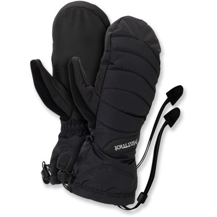 Ski Pull on the Marmot Moraine mittens and set off for the summit with warm hands. Nylon shells include Marmot MemBrain waterproof, breathable inserts to ensure your hands stay dry on snowy adventures. Polyester fiber insulation combines with a high-loft fleece lining for excellent warmth. Mittens include internal pockets sized for hand warmer packets (sold separately). Articulated construction allows great dexterity for handling ski poles and ice axes. Keep cold snow out with a quick cinch of the gauntlet closures. Marmot Moraine mittens have soft fabric on the thumbs that gives you a gentle place to wipe your cold nose. Slip your hands through the safety leashes to make sure you don't loose a mitten. - $55.00
