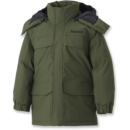 The Marmot Yukon down parka is an exceptional choice for boys on the go during the snowy months. Durable nylon shell uses a MemBrain(TM) 2-layer waterproof, breathable laminate to fend off snow, wind and wetness. 650-fill-power goose down is extremely warm, lightweight and compressible. Polyester lining wicks moisture away from your body to help regulate temperature and dries quickly when damp. Versatile zip-off, down-filled hood with drawcord adjustment provides immediate protection from inclement weather. Down-filled draft tube backs front zipper, keeping the draft out. Angel-Wing Movement(TM) sleeve construction allows unrestricted range of motion. 2 chest pockets, 2 handwarmer pockets and an interior security pocket store small items. Drawcord hem and elastic, rip-and-stick adjustable cuffs help keep warmth in and cold out. Closeout. - $98.73