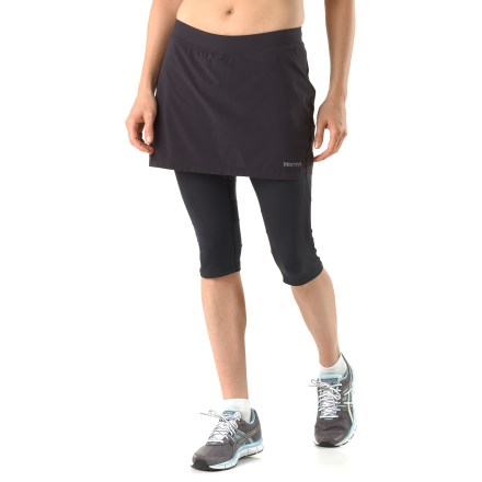 Fitness The women's Marmot Trail Breeze capri skirt combines performance fabric with the coverage of your favorite workout capris and the fun look of a skirt. Lightweight performance fabric in skirt and capris wicks moisture and dries quickly to help keep you cool on the trail and beyond. Fabric features a recycled silver salt treatment that reduces odors and won't wash out. Fabric helps protects skin from too much UV light with a UPF factor of 30. You'll run farther thanks to the flatlock seams. Interior pocket stores a key. Reflective highlights increase visibility in dim light. The women's Marmot Trail Breeze Skirt Capris feature a skirt length of 13 in. and a capri inseam of 17 in. - $51.93