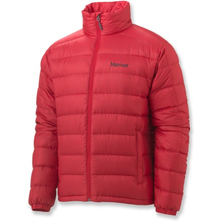 The men's 2012 Marmot Zeus jacket offers highly compressible, down-filled warmth. You will certainly wear it alone, but it's also the perfect mid layer in truly cold conditions. Water-resistant, ultralight downproof ripstop shell surrounds premium 800-fill-power goose down; it's slim and packs down small. Durable Water Repellent finish causes water to bead up and roll off. Draft flap behind front zipper keeps breezes out, while chin guard protects skin from abrasion. Features a drawcord hem and 2 zippered handwarmer pockets; left pocket doubles as a stuff sack. Angel-Wing Movement(TM) sleeves allow unrestricted range of motion. - $200.00