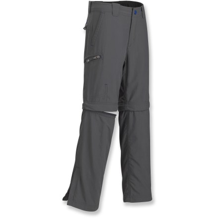 The Marmot Cruz Convertible pants let kids adapt to changing weather so they're always comfortable logging miles on the trail. Pant legs zip off, converting the pants to shorts in warm weather; zip the legs back on for increased coverage and greater warmth. Abrasion-resistant recycled nylon fabric is treated with a Durable Water Repellent finish to help shed moisture and resist stains; fabric dries quickly when wet. With a UPF 50+ rating, fabric provides excellent protection against harmful ultraviolet rays. Zippers at the pant hems let boys pull the leg sections on and off over boots. The Marmot Cruz Convertible pants feature a gusseted crotch for unrestricted range of motion. 2 hand pockets, 2 zippered rear pockets and a zippered cargo pocket provide ample space for trail essentials. - $24.83
