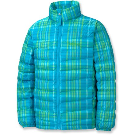 Ski The Marmot Jena jacket for girls offers highly compressible, down-filled warmth. You'll certainly wear it alone, but its slim profile makes it the perfect mid layer in truly cold conditions. Water-resistant, ultralight downproof ripstop shell surrounds 650-fill-power goose down. Draft flap behind front zipper keeps breezes out, and chin guard protects skin from abrasion. Marmot Jena down jacket has zip hand pockets. Angel-Wing Movement(TM)sleeves allow unrestricted range of motion; regular fit eases layering. - $49.83