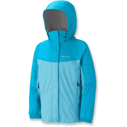 The Marmot PreCip(R) rain jacket for girls offers excellent protection from rain. 2.5-layer PreCip polyurethane coating offers waterproof protection, and is specially formulated for excellent durability and breathability. Fully taped seams ensure waterproofness. DryTouch(R) technology reduces condensation and that sticky, clammy feeling next to skin. Compact design packs small to take up little space in pack, making jacket perfect to take along just in case. Articulated sleeves allow unrestricted movement. Attached hood and elastic cuffs with rip-and-stick adjustment enhance weather protection. 2 zippered pockets stow items securely; slanted design allows easy access even while wearing your pack. Double stormflap protects front zipper from the elements; soft, lined chin guard ensures comfort. Closeout. - $44.93