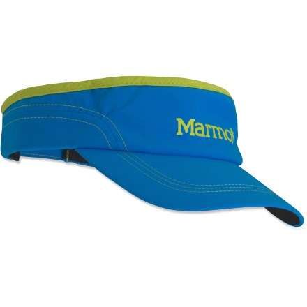 Fitness The Marmot Daroga running visor is your trusty running buddy, rain or shine. Nylon/spandex soft-shell fabric sheds moisture in light rain. DriClime(R) sweatband wicks moisture to keep you comfortable. Rip-and-stick back strap adjusts the fit; 1 size fits most. Closeout. - $11.93