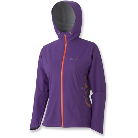 The Marmot Hyper jacket is built to keep you dry during active pursuits. With built-in stretch, this jacket moves with you so you don't have to trade mobility for dryness. Marmot MemBrain(R) Strata 2.5-layer nylon shell is waterproof and breathable, soft yet durable and packable; micro-stiched, taped seams seal out the wet. Hood features dual adjustments for a custom fit; collar cord lets you cinch in collar to keep the weather out. Water-resistant front zipper keeps the rain out, and it features a contrasting color for style. Concealed zippers allow ventilation when the activity level rises. Angel-Wing Movement(TM) sleeves allow unrestricted range of motion. Jacket features an interior media pocket and zippered hand pockets. Asymmetrical cuffs feature built-in elastic for a perfect fit. Drawcord hem seals out the cold. Closeout. - $96.73