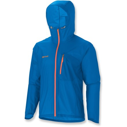 The Marmot Essence rain jacket is the perfect addition to your backcountry gear. Lightweight and waterproof, it will keep you dry without weighing you down. Ripstop nylon shell with MemBrain(R) Strata(TM) waterproof breathable coating keeps you protected from the elements. Dry Touch technology next to the skin reduces condensation and that sticky, clammy feeling. All seams are taped to ensure full protection from the elements. Features an attached, adjustable brimmed hood. Stormflap under front zipper keeps the weather outside where it belongs; DriClime(TM)-lined chin guard protects against abrasion. Angel-Wing Movement(R) sleeves allow unrestricted range of motion. Designed to fit over a fleece of soft-shell jacket. Closeout. - $94.83