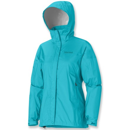 The Marmot PreCip rain jacket features PreCip(R) Dry Touch waterproof, breathable coating for amazing rain protection. All-season jacket is not only lightweight and compressible, but it's renowned for its water shedding, breathable performance and reliable comfort. PreCip still features a 2.5-layer waterproof, breathable polyurethane coating; ceramic particles add durability, waterproof reliability, and enhanced Dry Touch comfort. The next-to-skin Dry Touch finish reduces condensation, helping to eliminate that clammy feeling. 100% taped seams seal out the elements. Hood design with peripheral cord adjustment accommodates full visibility; hood rolls into integrated collar when not needed. PitZips(TM) allow built-up body moisture to escape. Double stormflap over front zipper secures with rip-and-stick closures; DriClime(R) chin guard wicks away moisture and is soft against skin. Features elastic drawcord hem. Pack Pockets(TM) allow easy access even with a pack on; 1 pocket serves as a stuff sack. PreCip is designed to fit over a fleece or soft shell. Closeout. - $47.83