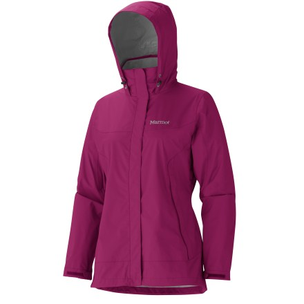 Camp and Hike The Marmot Phoenix rain jacket doubles as a backpacking and around-town shell. It's a great choice for weather protection. PreCip(R) DryTouch(TM) waterproof, breathable coating helps prevent condensation buildup, eliminating that clammy feeling; ripstop nylon is lightweight and durable. Fully taped seams prevent water from penetrating through seams. Collar and chin guard are lined with DriClime(R) polyester tricot for comfort and protection against zipper abrasion. PitZips(TM) allow excellent ventilation control. Elastic drawcord hem and adjustable cuffs seal out the wind and rain. Features 2 zippered hand pockets. Marmot Phoenix jacket's standard fit allows comfortable layering. Closeout. - $68.73