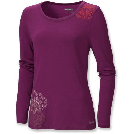 The ultrasoft Marmot Henna shirt features intricate embroidery and water-based, screen-printed detail. Tencel(R) lyocell, a supple natural cellulose fiber, offers the wonderful drape of rayon, the smooth, soft hand of silk and the cool breathability of cotton. Elastane improves fit, retains fabric shape and helps stave off wrinkles. Closeout. - $15.73