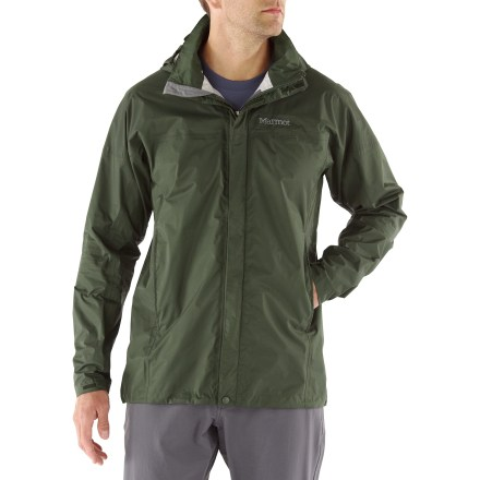 The men's tall Marmot PreCip rain jacket offers amazing weather protection. A true classic, you'll love the PreCip jacket. All-season jacket is not only lightweight and compressible, but renowned for its water shedding, breathable performance and reliable comfort. PreCip still features a 2.5-layer waterproof, breathable polyurethane coating; ceramic particles add durability, waterproof reliability, and improved Dry Touch comfort. The next-to-skin Dry Touch finish reduces condensation, helping to eliminate that clammy feeling. 100% taped seams seal out the elements. Hood design with peripheral cord adjustment accommodates full visibility; hood rolls into integrated collar when not needed. PitZips(TM) allow built-up body moisture to escape. Double stormflap over front zipper secures with rip-and-stick closures; DriClime(R) chin guard wicks away moisture and is soft against skin. Features elastic drawcord hem. Pack Pockets(TM) allow easy access even with a pack on; 1 pocket serves as a stuff sack. The Marmot PreCip men's tall jacket is designed to fit over a fleece or soft shell. Closeout. - $82.73