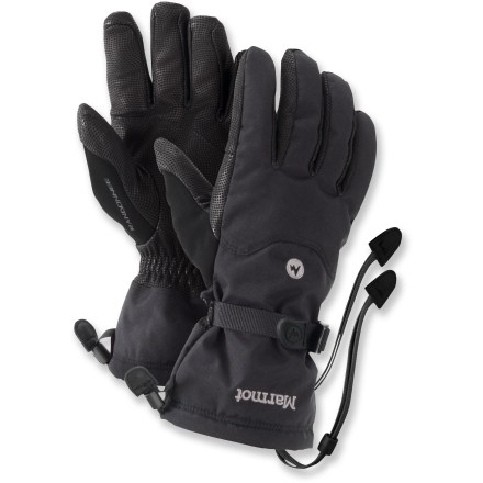 Ski The Marmot Randonnee Gore-Tex(R) gloves keep hands warm and dry while you tour the backcountry. Abrasion-resistant MemBrain(R) nylon shells with supple leather palms and thumbs offer a solid grip of backcountry equipment. Waterproof, highly breathable Gore-Tex inserts keep your hands dependably dry and comfortable. Thermal R insulation is an ultrafine microfiber blend that delivers downlike softness yet is water repellent. Polyester DriClime(R) microfiber linings allow breathability and provide excellent moisture transfer. Falcon Grip articulated fingers allow an easy, non-fatiguing grip. Soft fabric on the thumbs gives you a gentle place to wipe your cold nose. Elastic and cinch straps at wrists and 1-hand-adjustable gauntlet drawcords seal out snow and seal in warmth. Safety leashes keep gloves attached to wrist when removed from hands. Closeout. - $37.83