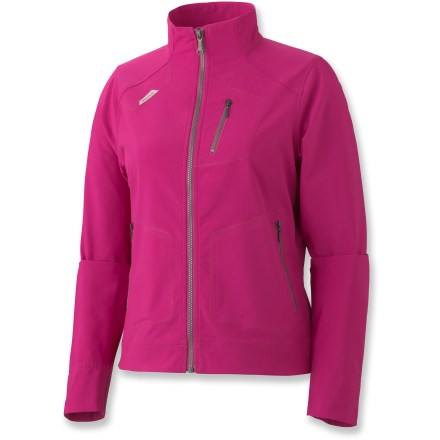 The Marmot Levity women's soft-shell jacket is a great choice for active pursuits in mild-weather outings. M3 soft-shell fabric with 4-way stretch is water resistant, breathable and stretchy so you stay comfortable without a lot of extra layers. Raglan sleeves allow excellent freedom of movement and move seams away from shoulders for better comfort when carrying a pack. Windflap behind zipper blocks drafts and chin guard covers top of zipper to protect sensitive skin from chafing. Zippered handwarmer pockets shelter chilly fingers and a zip chest pocket lets you stash small essentials. Closeout. - $86.73