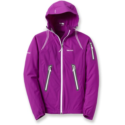 The Marmot Vapor Trail soft-shell hoodie jacket is a great choice for trail runs, hikes and climbs. Stay warm without losing movement in the jacket. M2 soft-shell fabric breathes well and features easy-to-move-in stretch; it repels light wind and has a Durable Water Repellent finish to help repel light rain. Adjustable hood features volume adjustments, and can be secured with the rip-and-stick hood tab. Body and sleeves are windproof while side panels and back offer amazing breathability. Angel-Wing Movement(TM) allows full range of arm motion and prevents jacket from riding up when arms are raised. Asymmetrical cuffs feature elastic for a perfect fit. Pack Pockets(TM) allow easy access even with a pack on. The Marmot Vapor Trail soft-shell hoodie jacket features a zippered sleeve pocket, internal MP3 player pocket with headphone port and a drawcord hem. Closeout. - $56.73