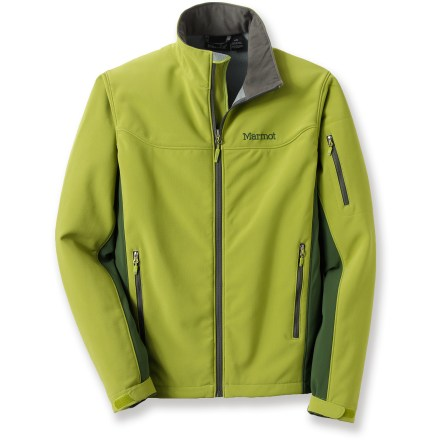 This Marmot Ultima soft-shell jacket is wind- and water-resistant, warm and great for a wide range of aerobic uses in moderate conditions. 4-way stretch fabric has a smooth, abrasion-resistant exterior and warm grid-fleece interior; shoulders, front and tops of arms feature tough high-denier fabric. Cocona(R) (made from discarded coconut shell husks) is processed into activated charcoal carbon and then blended into the polyester fabric. Cocona enhances the quick-drying properties of the polyester, helps control odors and provides UV protection, and these performance benefits cannot be washed out. Front zipper features an interior draft flap which folds over the end of the zipper to protect chin from abrasion. Drawcord hem and adjustable cuffs. 2 handwarmer pockets, 1 zippered sleeve pocket and 1 interior stash pocket. The Marmot Ultima jacket is designed to fit over a light layer. Closeout. - $89.73