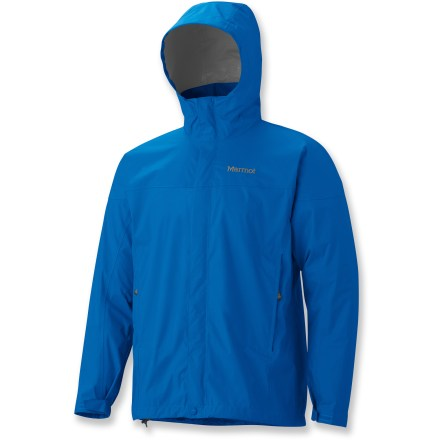 The men's Marmot PreCip rain jacket features PreCip(R) Dry Touch waterproof, breathable coating that stands against the elements to keep you dry! All-season jacket is not only lightweight and compressible, but renowned for its water-shedding, breathable performance and reliable comfort. PreCip still features a 2.5-layer waterproof, breathable polyurethane coating; ceramic particles add durability, waterproof reliability, and improved Dry Touch comfort. The next-to-skin Dry Touch finish reduces condensation, helping to eliminate that clammy feeling. Taped seams seal out the elements. Hood design with peripheral cord adjustment accommodates full visibility; hood rolls into integrated collar when not needed. PitZips(TM) allow built-up body moisture to escape. Double stormflap over front zipper secures with rip-and-stick closures; DriClime(R) chin guard wicks away moisture and is soft against skin. Features elastic drawcord hem. Pack Pockets(TM) allow easy access even with a pack on; 1 pocket serves as a stuff sack. PreCip is designed to fit over a fleece or soft shell. Closeout. - $69.93