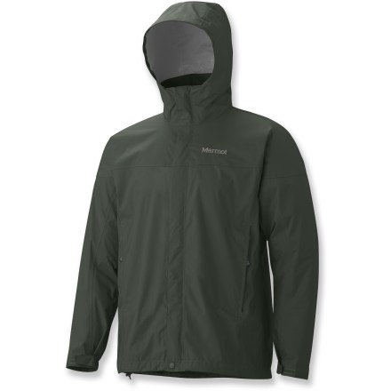 The Marmot PreCip rain jacket features PreCip(R) Dry Touch waterproof, breathable coating for superior weather protection and breathability. All-season jacket is not only lightweight and compressible, but renowned for its water shedding, breathable performance and reliable comfort. PreCip still features a 2.5-layer waterproof, breathable polyurethane coating; ceramic particles add durability, waterproof reliability, and improved Dry Touch comfort. The next-to-skin Dry Touch finish reduces condensation, helping to eliminate that clammy feeling. Taped seams seal out the elements. Hood design with peripheral cord adjustment accommodates full visibility; hood rolls into integrated collar when not needed. PitZips(TM) allow built-up body moisture to escape. Double stormflap over front zipper secures with rip-and-stick closures; DriClime(R) chin guard wicks away moisture and is soft against skin. Features elastic drawcord hem. Pack Pockets(TM) allow easy access even with a pack on; 1 pocket serves as a stuff sack. PreCip is designed to fit over a fleece or soft shell. Closeout. - $47.83