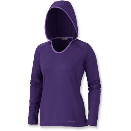 Camp and Hike The Marmot Essential Pullover Hoodie top is a great choice for bouldering, rock climbing or enjoying a nice fall hike. Midweight nylon stretch fleece fabric is soft, warm and quick drying; plus, it helps protects skin with a UPF 50+ rating. Built-in stretch means hoodie moves with you. Hood features 3-piece construction for a comfortable fit. Zippered secure pocket at side seam is perfect for stashing a key. Scoop neckline offers a feminine fit. Closeout. - $36.73