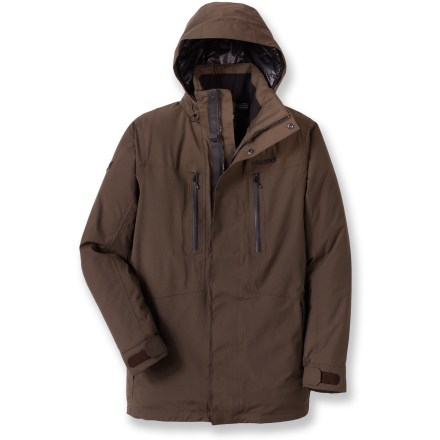 When the cold, wind, and wet snow threaten to put a damper on your day, pull out the Marmot Grafton Insulated jacket and carry on. Durable nylon shell uses a MemBrain(R) 2-layer waterproof, breathable laminate to fend off snow, wind and wetness. Thermal R(R) polyester insulation is warm and lightweight. Insulated, brimmed hood with drawcord adjustment provides solid protection from inclement weather; it zips off for versatility. Neck stays warm with rib-knit lined collar. Internal and external draft flaps keep the weather out. Zip handwarmer pockets; Napoleon chest pockets have watertight zippers. 2 interior pockets. Marmot Grafton Insulated jacket offers a comfortable, standard fit. Closeout. - $170.73