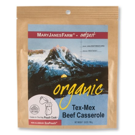 Camp and Hike Take along a bit of flavor from the southwest on your next backpacking trip with the MaryJanesFarm Organic Tex-Mex Beef Casserole. Made with all-natural, organic ingredients, Tex-Mex Beef Casserole features organic grass-fed beef. Can be prepared in its own pouch; just combine the meat packet with the rest of the food, add boiling water, stir and let stand before serving. Contains 15% of the recommended daily value of vitamin C per serving, 20% of vitamin A, 30% of calcium and 20% of iron. *Discount will be applied when you check out; offer not valid for sale-price items ending in $._3 or $._9. - $9.93