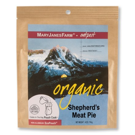 Camp and Hike MaryJanesFarm Shepherd's Meat Pie is easily prepared at your backcountry campsite and features a tasty mixture of organic potatoes, organic ground beef and organic cheddar cheese. - $12.00