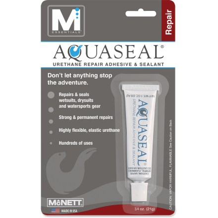 Kayak and Canoe McNett Aquaseal is a urethane rubber compound that provides flexible repair for wetsuits, dry suits or any neoprene item. - $7.50