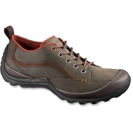 The Merrell Loess shoes put time-tested functionality to work in a pair that's casual enough for the office but rugged enough for all-day wandering on your travels. Full-grain leather uppers offer supple, durable and naturally water-resistant protection for your feet. Nylon mesh linings wick moisture away from feet to ensure comfort; AEGIS Microbe Shield(R) antimicrobial treatment helps deter odor development. Partially recycled EVA midsoles work with Air Cushion pockets in the heels to deliver cushioning comfort underfoot. Nylon arch shanks add support and help control torsional flex. Loop at back of heels eases on/off. Loess shoes feature Merrell Cinder soles with TC5+ rubber for superior grip on everyday terrain. - $64.83