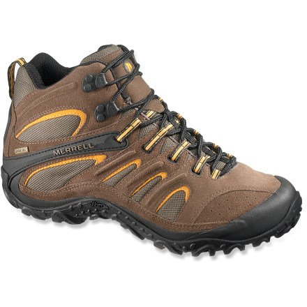 Camp and Hike The Merrell Chameleon 4 Mid Ventilator Gore-Tex(R) hiking boots let you go lightweight without sacrificing the support, protection and traction you need to handle rugged trails. Durable suede leather uppers with abrasion-resistant polyester panels offer flexibility and ventilation. Gore-Tex linings boast a high level of breathability while retaining complete waterproof protection. Nylon mesh linings wick away excess moisture and dry quickly for comfort; AEGIS Microbe Shield(R) antimicrobial treatment helps keep odors at bay. Removable EVA insoles, made from 20% recycled materials, add cushioning to compression-molded EVA midsoles for a soft, cradled feel. Air Cushion heel pockets help absorb shock. Nylon shanks offer torsional stability and protection underfoot, increasing surefootedness on varied terrain and reducing rock bruising. Vibram(R) outsoles on the Merrell Chameleon 4 Mid Ventilator Gore-Tex hiking boots feature TC5+ rubber for durable traction on the trails. - $114.93