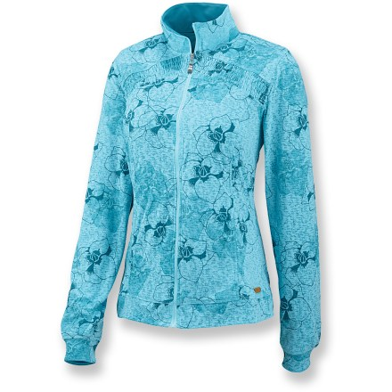 The Merrell Phoebe jacket features a moisture-wicking interior that will keep you dry and comfortable no matter where you roam. Phoebe has a soft cotton/polyester exterior with a polyester interior, treated with Merrell Opti-Wick(TM), to move moisture away from your skin. Full-length zipper and mock collar retains warmth. Floral burnout print and smocking along upper chest add flair. Closeout. - $21.73
