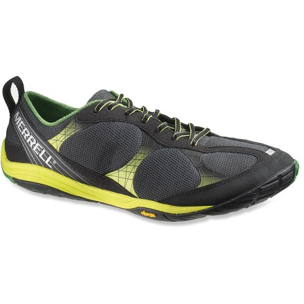 Fitness These zero-drop Merrell Road Glove running shoes let you run naturally, while offering a thin layer of cushioning and protection for logging your miles. Synthetic leather and mesh uppers create tough, flexible and breathable barriers around your feet. Lacing system is anchored by welded thermoplastic urethane, ensuring a snug fit. Rubber toe bumpers and forefoot shock absorption plates guard against bruising. Synthetic leather slings around the back of feet add stability. 4mm thick EVA midsoles provide cushioning that makes outdoor adventures easy on your feet; shoes feature a 0mm heel to midfoot drop. Vibram(R) Road Glove nonmarking rubber soles offer excellent grip on the road. Merrell Road Gloves are machine washable in cold water, gentle cycle. - $76.93