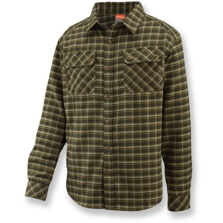 It's hard to top the comfort of this Merrell Burlington II flannel, button-down shirt. Quick-drying, moisture-wicking polyester is blended with durable nylon and smooth rayon for ultimate comfort. Mesh lining at back yoke increases airflow to keep your neck cool on warm days. Merrell Burlington II shirt has 2 chest pockets with button closures. Seamless shoulders won't chafe under pack straps. Closeout. - $24.83