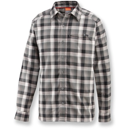 This mid-weight Merrell Hoffman shirt is just right for kicking back at the campsite after a long day on the trail. Polyester flannel canvas wicks moisture away to keep you dry. Fabric provides UPF 50+ sun protection, shielding skin from harmful ultraviolet rays. Single chest pocket holds money, matches or munchies. Closeout. - $24.83