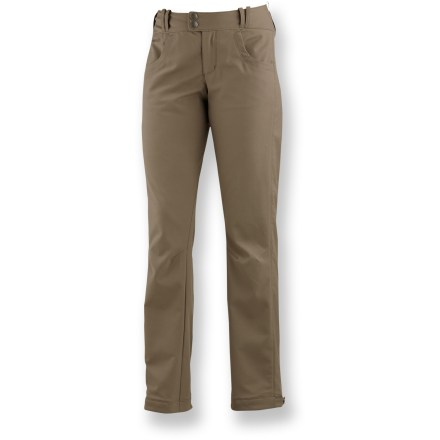 Camp and Hike The Merrell Aurora pants are the antidote to blustery blues, with windproof and highly water-resistant protection. Easy-care, windproof nylon is blended with a touch of elastane for ample 2-way, vertical stretch. Durable Water Repellent finish fends off light showers. Versatile jeanlike styling; waistline is higher in the back to provide extra coverage. Wide cuffs with snap closures fit around your boots to keep out snow. Merrell Aurora pants feature a slim fit. Closeout. - $30.83