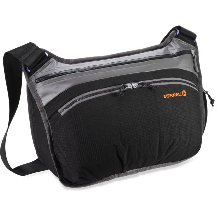 Entertainment You'll dominate with the capable Merrell Belzie messenger bag. Multiple outer and inner storage pockets stash your phone and all the other little things. - $43.93