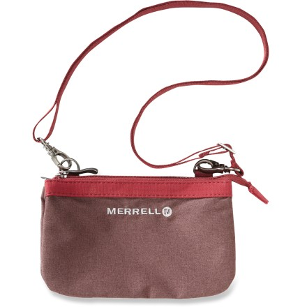 Entertainment The handy little Merrell Theisen bag features 3 main compartments to stash your daily essentials-no more digging for what you need. Sturdy nylon with canvas trim holds up to everyday use; Durable Water Repellent fends off moisture. 3 main compartments make your essentials easy to find; zippers keep them secure. Removable strap. Closeout. - $12.83