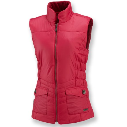 The insulated Merrell Odessa vest delivers core warmth in a lightweight, polished package. 100g Merrell Opti-Warm(TM) lightweight synthetic insulation keeps you warm. Nylon shell fabric is treated with a Durable Water Repellent finish for water resistance and quick drying. Fleece-lined collar boosts comfort. Hand pockets secure with button closures. Classic fit follows body contours without being tight. Closeout. - $49.93