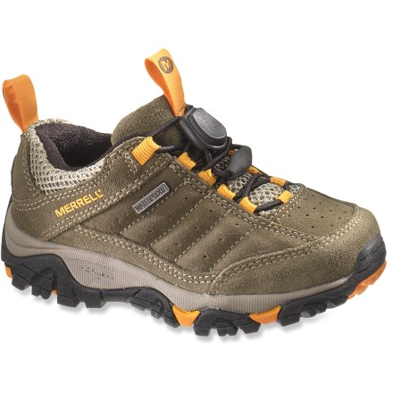 Camp and Hike Merrell Tailspin Toggle Waterproof kids' hiking shoes boast a fast and easy lacing system to get them out on their adventures quickly and hassle-free. - $14.83