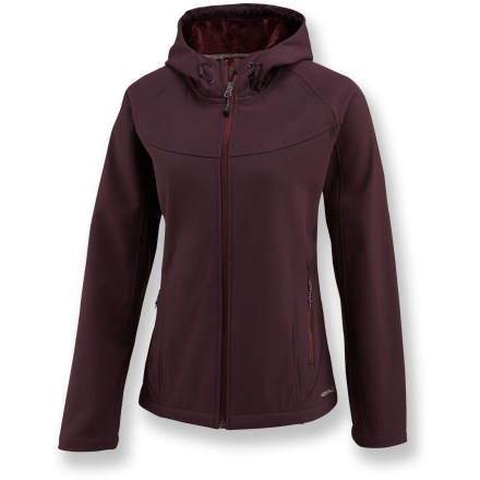 The Merrell Siren Soft-Shell hoodie is great for urban activities in blustery weather. AeroBlock(TM) soft-shell fabric features a Durable Water Repellent finish to shed light moisture. Bonded fleece on inner-facing of jacket and hood is soft against skin, and enhances warmth. High collar extends warmth. Siren jacket features a drawcord hem and mesh hand pockets with zipper closures. Closeout. - $89.93