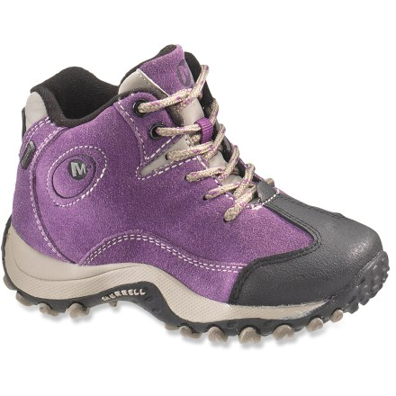 Camp and Hike The rugged girls' Merrell Chameleon Spin Waterproof boots are ready for exploring, thanks to sturdy leather uppers and waterproof protection. - $31.83