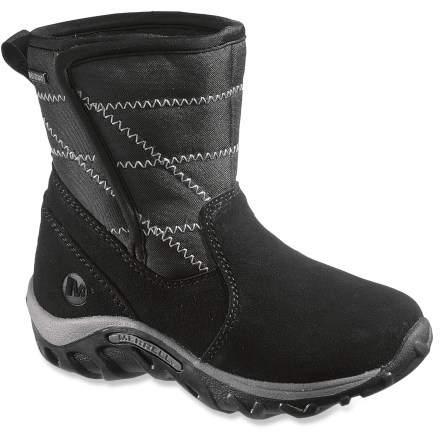 These insulated Merrell Jungle Moc Quilted Waterproof winter boots feature excellent protection from the elements and an easy-on, easy-off design. Waterproofed suede leather protects lower part of boots while quilted, flexible nylon shafts offer flexibility and enhanced coverage. Shafts are backed with rip-and-stick closures to secure the fit and can easily be adjusted with gloves or mittens on; back pull tabs ease entry. Waterproof, breathable membranes seal out the elements to help keep feet dry; polyester linings wick moisture away from feet. 200g lightweight Opti-Warm(TM) synthetic insulation keeps his feet toasty in cold temperatures. Removable EVA footbeds cushion feet; agION(R) antimicrobial treatment helps deter odors. Molded nylon arch shanks offer support and stability for all-day wear. EVA midsoles feature heel air cushions to absorb shock in key impact areas. Nonmarking rubber outsoles on the Merrell Jungle Moc Quilted waterproof winter boots offer excellent traction on winter surfaces. - $44.93