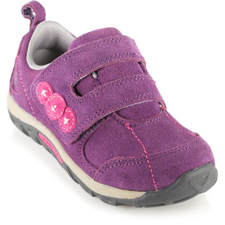 The toddler girls'/girls' Merrell Jungle Moc Dual Strap Junior shoes are easy to get on and off of growing feet and offer great comfort for daily adventuring. - $10.83