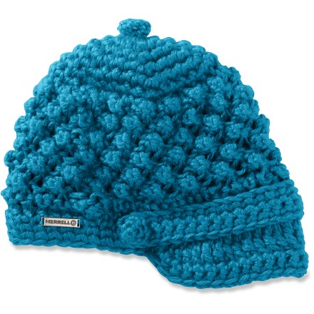 Entertainment Wear the hip Merrell Chiswick hat just about anywhere-from quick mountain adventures to evening strolls through town. Playful popcorn knit combines with the soft visor and buttons on the brow band to give the hat style. Acrylic exterior is lined with soft polyester fleece at the earband. - $19.93