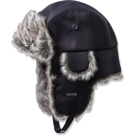 Entertainment Why hide from winter weather when you can dive right in with the insulated, waterproof Merrell Geneva hat?. 2-layer waterproof, breathable fabric keeps you dry and comfortable on snowy adventures; durable water repellent finish causes water to bead up and roll off. Lightweight synthetic insulation keeps your head warm. Faux-fur trim on the front flap and earflaps is soft and comfortable next to skin. Chin strap with adjustable closure secures the Merrell Geneva hat on your head. - $33.93