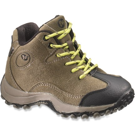 Camp and Hike Set to explore, the Merrell Chameleon Spin Waterproof boys' boots offer protection and support to keep their adventurous feet comfortable. Waterproofed suede leather uppers offer excellent durability and protection; traditional laces supply a snug, custom fit. Extended rubber toe caps help protect uppers and feet. Waterproof membranes let feet breathe while protecting them from the elements. Nylon mesh linings wick moisture away to enhance in-boot comfort. Linings and removable footbeds are treated with AEGIS Microbe Shield(R) antimicrobial treatment to deter odors from developing. EVA midsoles with Air Cushion heel pockets supply shock absorption and cushioning for all-day adventuring. Nylon arch shanks help support and stabilize feet. Nonmarking rubber outsoles on the boys' Merrell Chameleon Spin Waterproof boots provide the traction needed for on- and off-trail jaunts. - $31.83