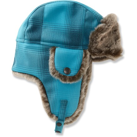 Ski The Merrell Geneva Earflap hat is a fun way to stay warm in the winter. Plaid polyester outer fabric features a warm faux fur lining and brim; outer fabric features a waterproof, breathable coating to keep you dry. Earflaps for additional coverage; chin strap keeps hat in place. Closeout. - $19.83