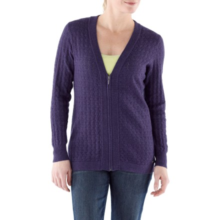 The Merrell Leighton Cardigan sweater is decadently lightweight and luxuriously soft. It will be your coveted cold-weather love! A zigzag, almost-pointelle knit creates an airy feel and adds elegance to this low-bulk, stretchy and sophisticated layer. Fully-fashioned, continously knit-in sleeves. Exposed metal zipper. Hand wash in cold water and lay flat to dry. - $48.83